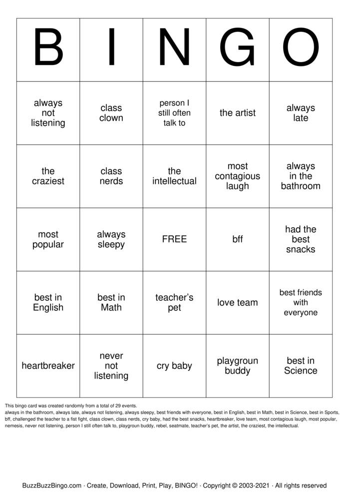 Download Free 50th Class Reunion Bingo Cards