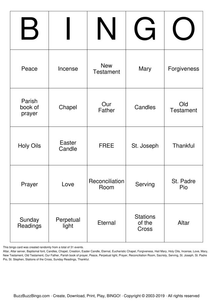 Download Free Bible Bingo Cards