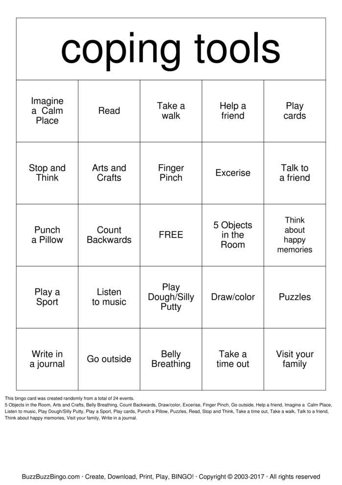 Coping Skills Bingo Instructions