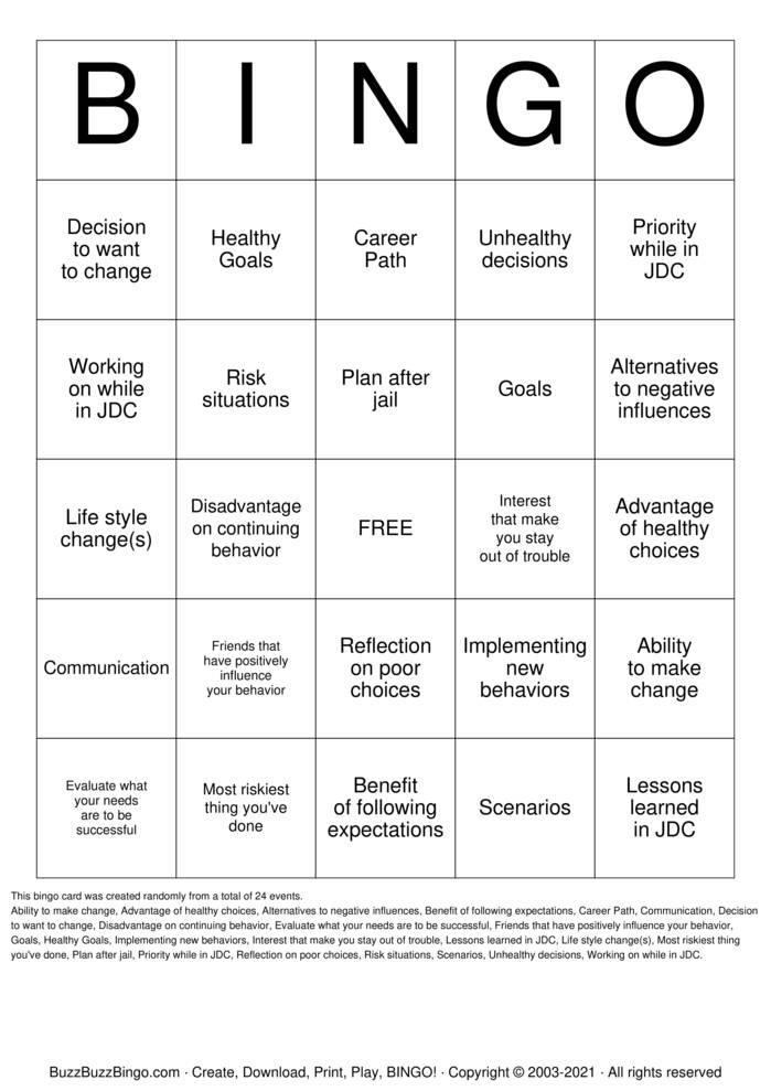 Download Free Decision Making Bingo Cards