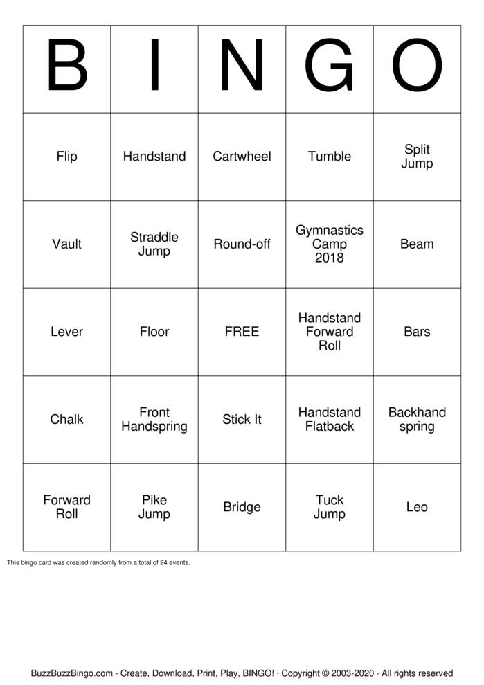 Download Free GEMSTONE GYMNASTICS Bingo Cards