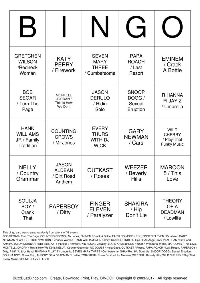 Download Free MUSIC BINGO #2 Bingo Cards