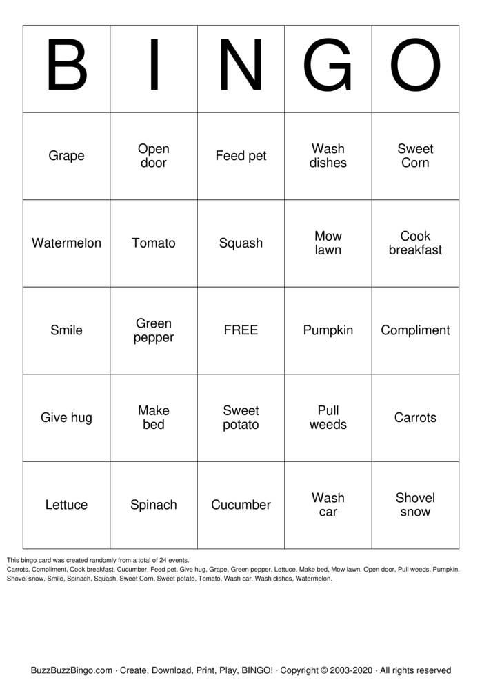 Download Free Plansting Seeds of Kindness Bingo Cards