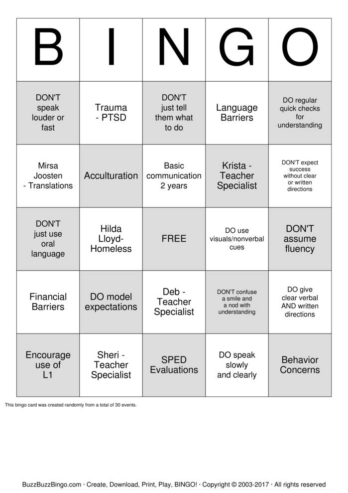Download Psychologist Training Bingo Cards