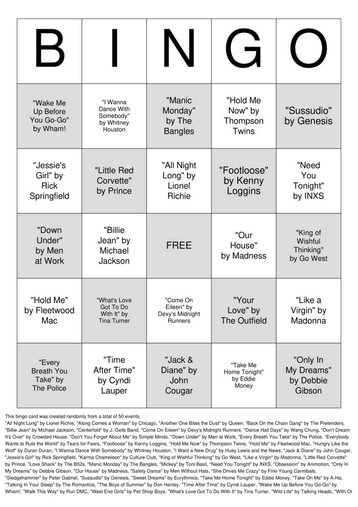 Download Free The 1990's Bingo Cards