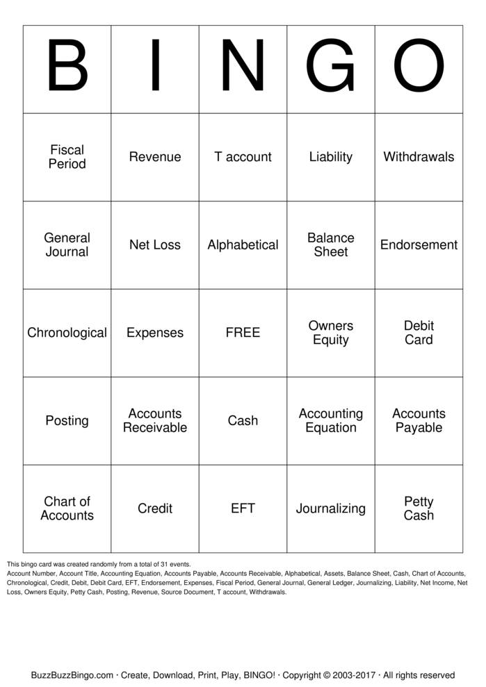 Download Free Accounting Bingo Cards