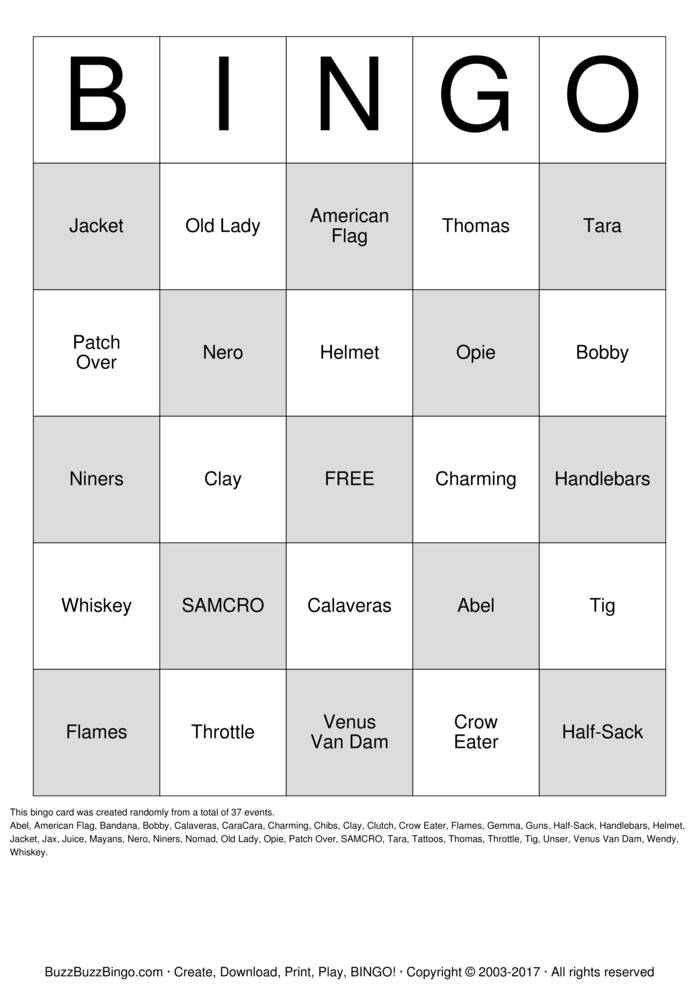 Download Free Biker  Bingo Cards