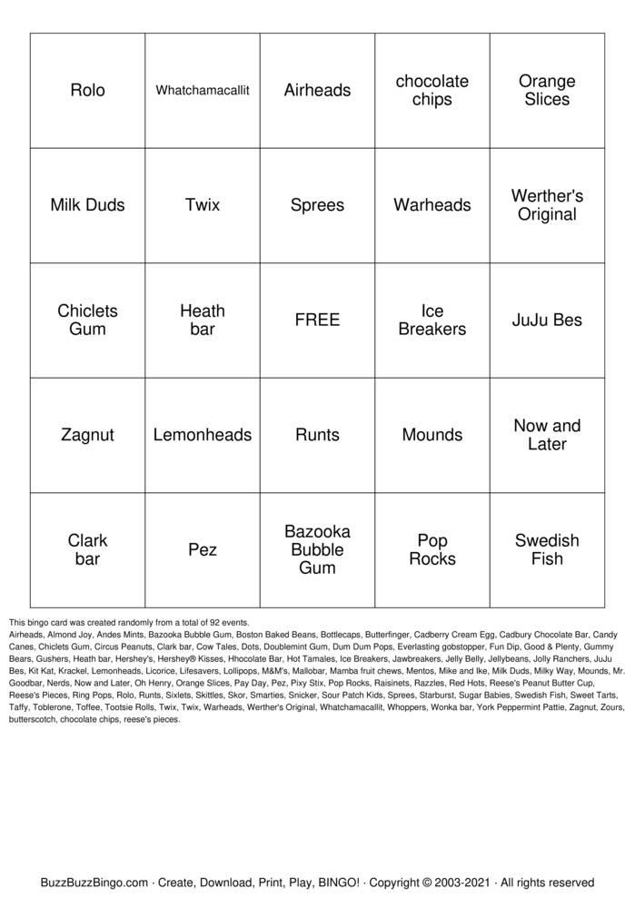 Download Free Candyland  Bingo Cards