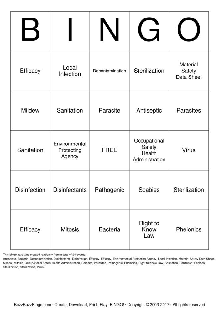 Infection Control Bingo Card