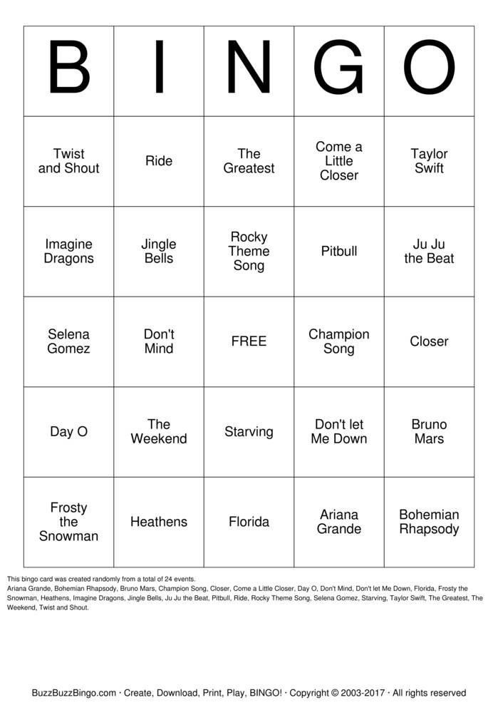 Download SONGO Bingo Cards