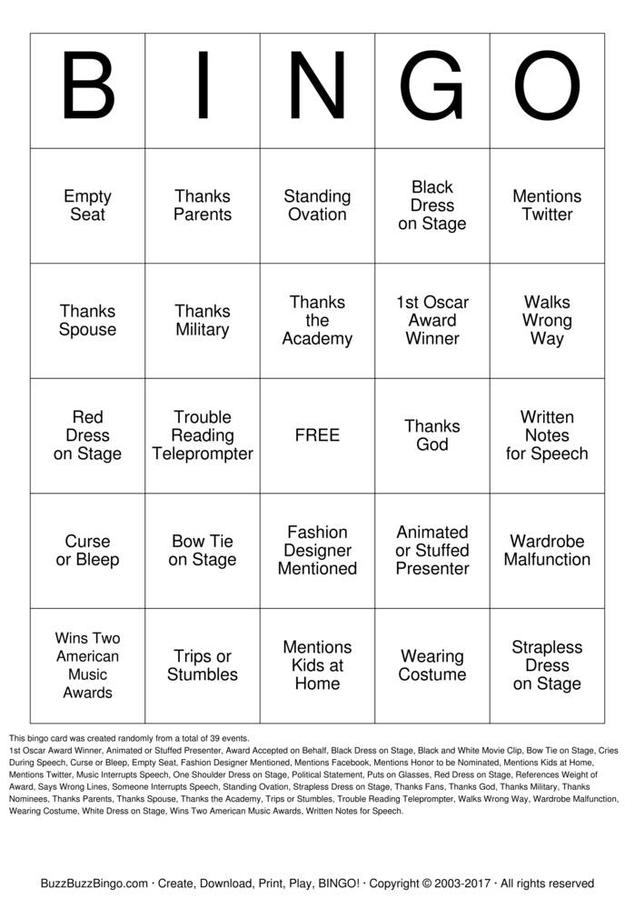 Download American Music Awards Bingo Cards