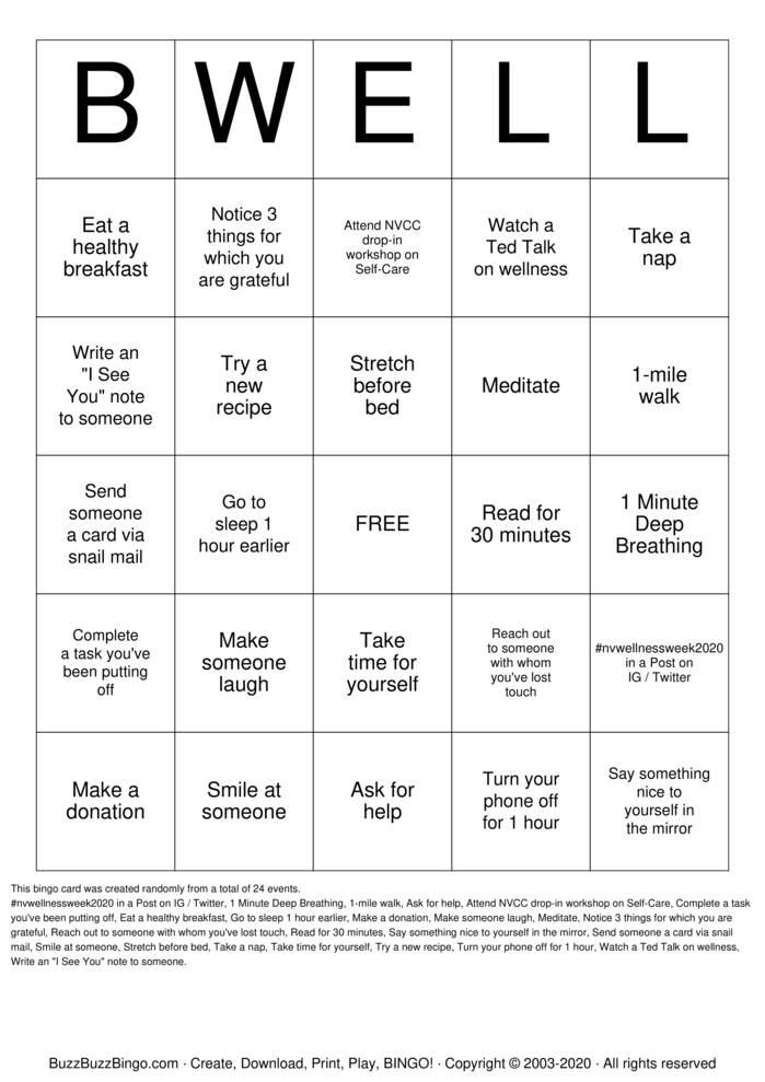 Download Free BWELL Bingo Cards