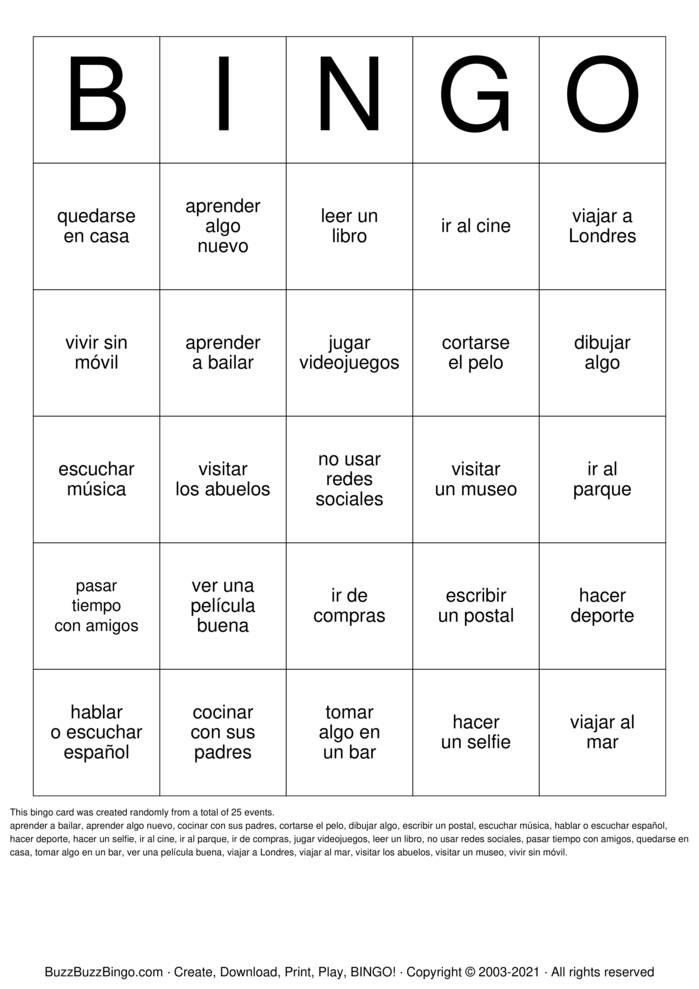 Download Free Bingo de las vacaciones Bingo Cards