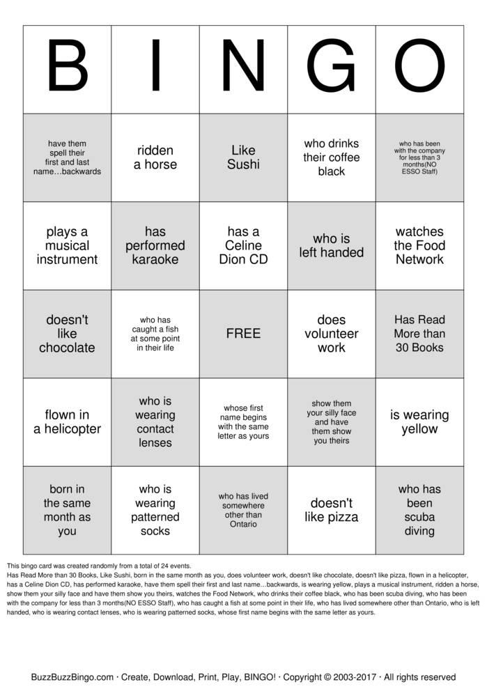 Download Free Circle K Human Bingo Bingo Cards