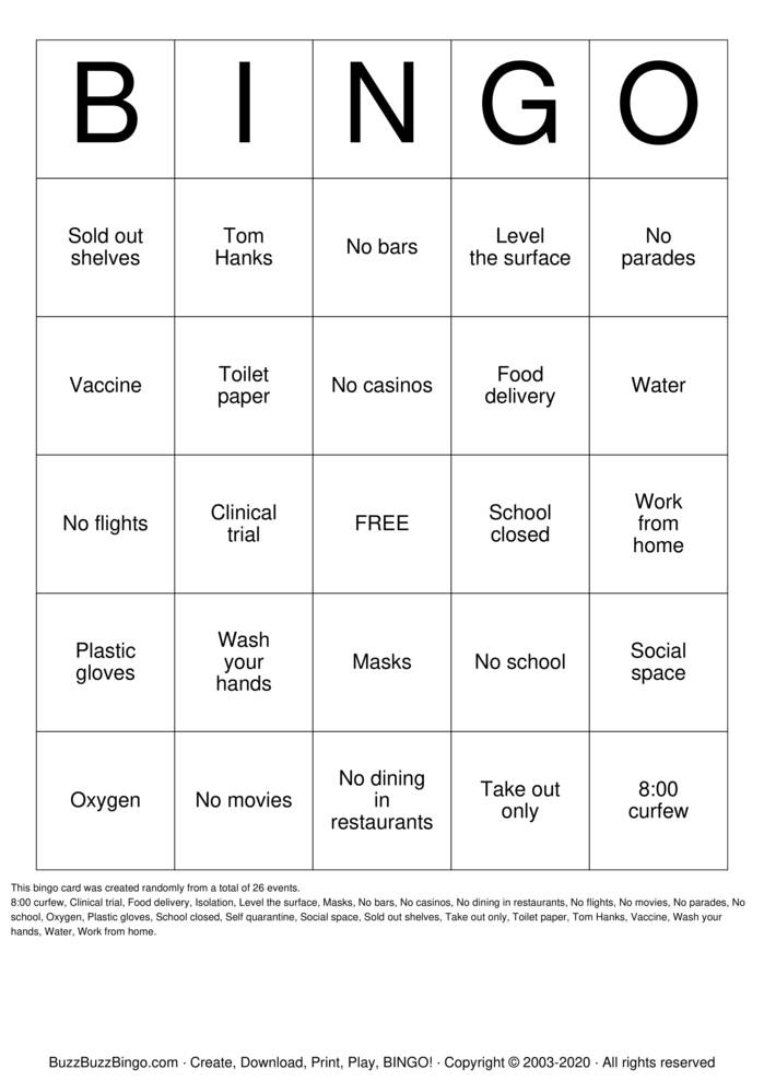 Download Free Corona Virus Bingo Cards