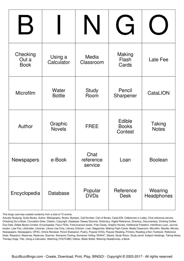 Download Free Library Bingo Cards