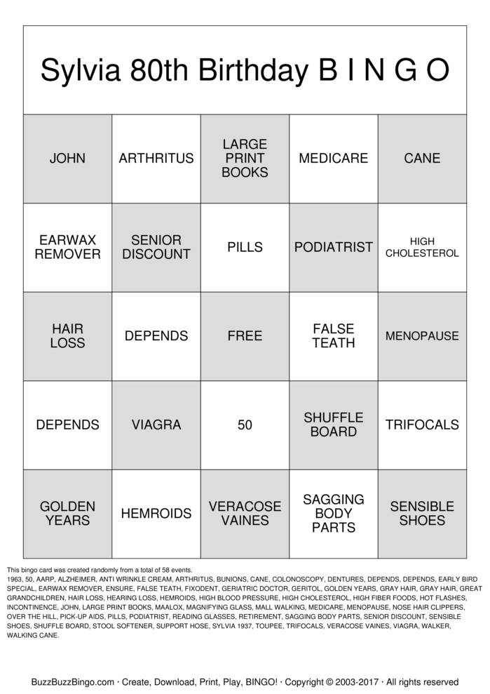 Download Free OVER THE HILL Bingo Cards