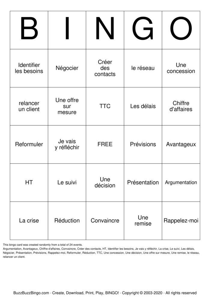 Download Free SALES Bingo Cards