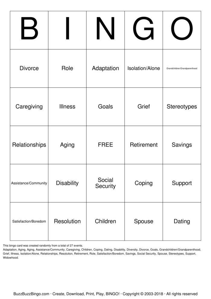 Download Senior Citizens Bingo Cards