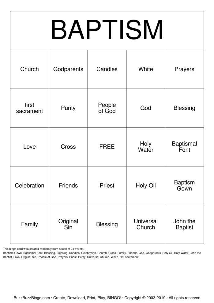 Download Baptism Bingo Cards