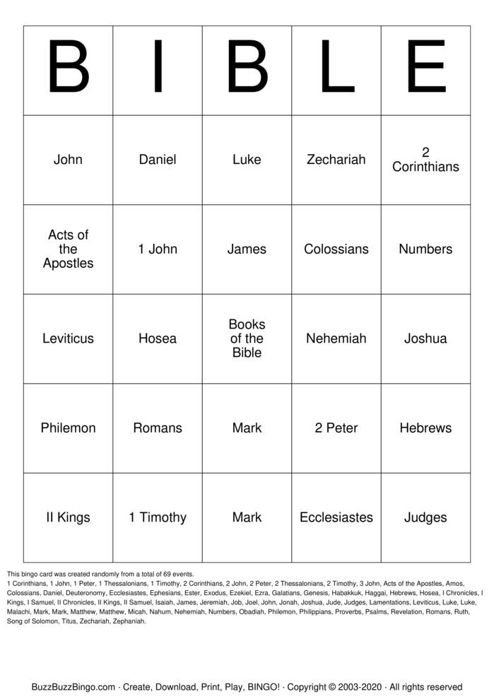 Download Free Books of the Bible Bingo Cards