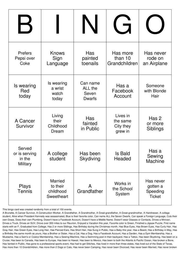 Download Free Family Reunion Bingo Cards