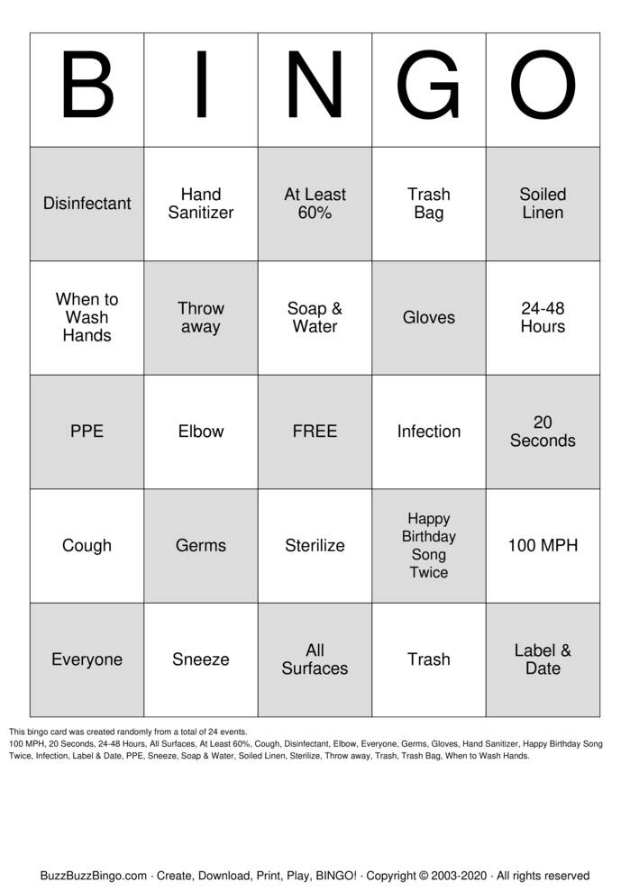 Download Free Infection Control Bingo Cards