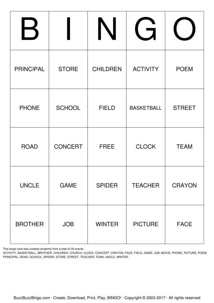 Download Free NOUN Bingo Cards