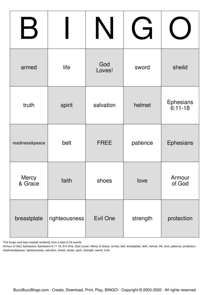 Download Free Armour of God Bingo Cards