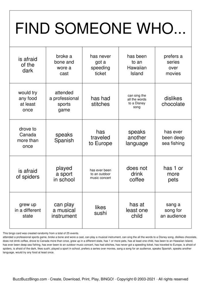 Download Free Cahoots! BINGO Bingo Cards