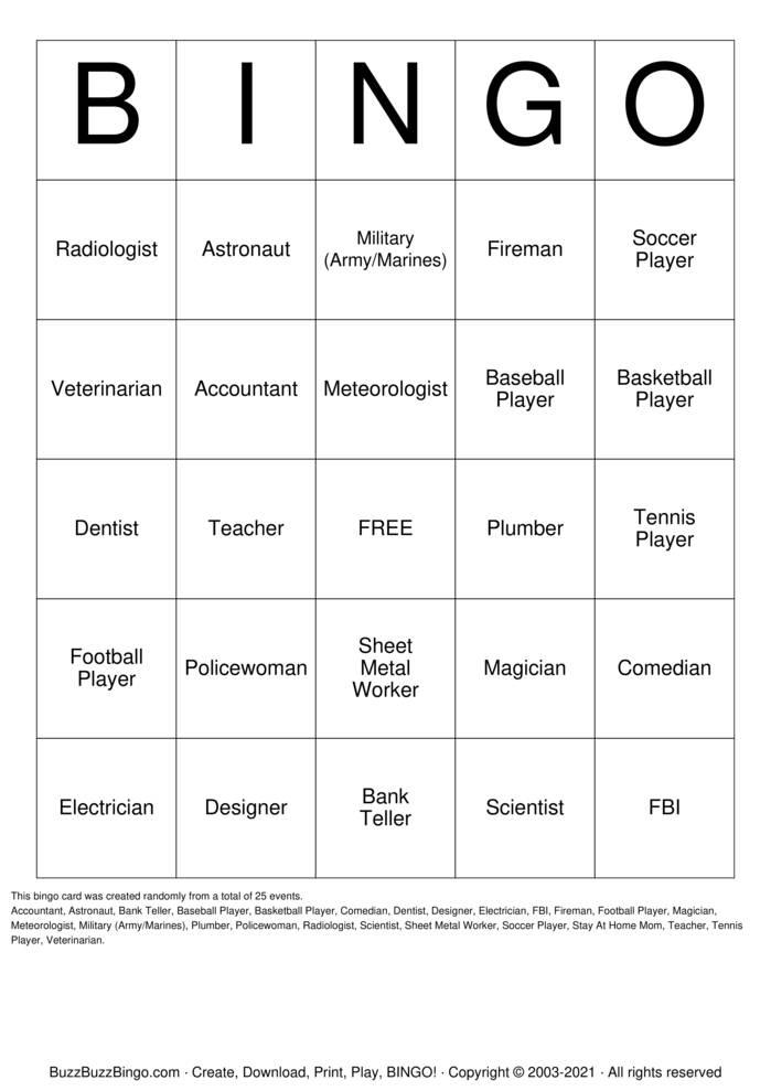 Download Free Career  Bingo Cards