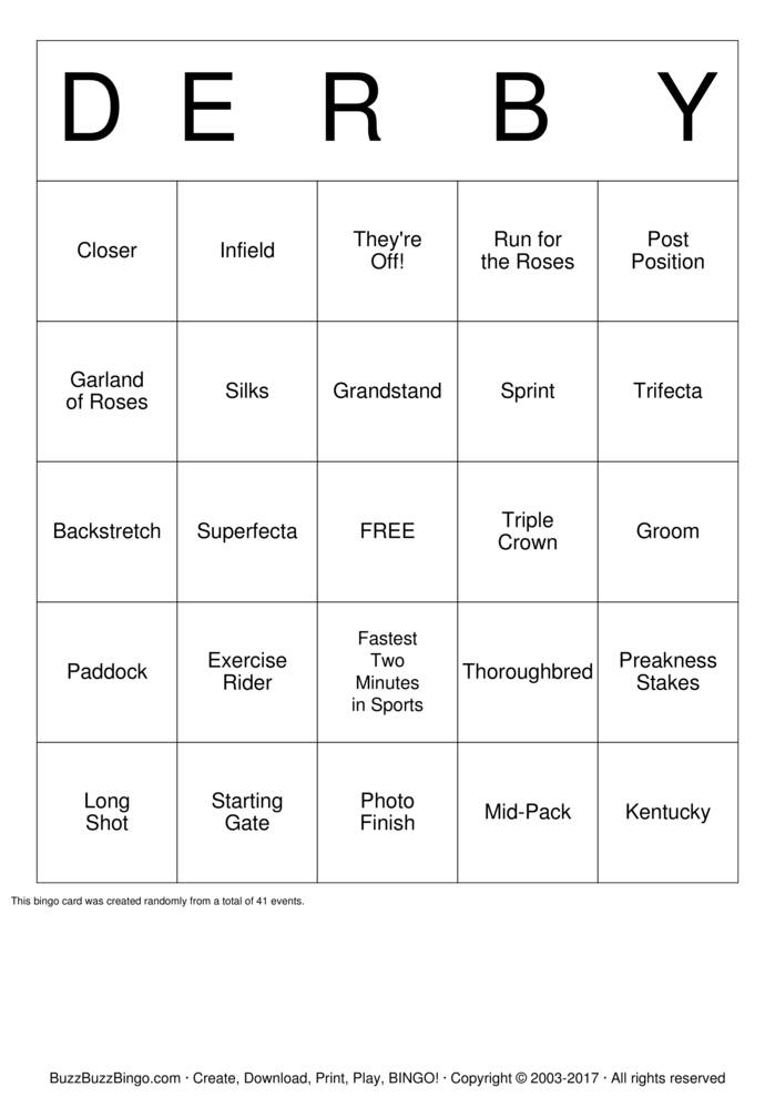 Download Kentucky Derby Bingo Cards