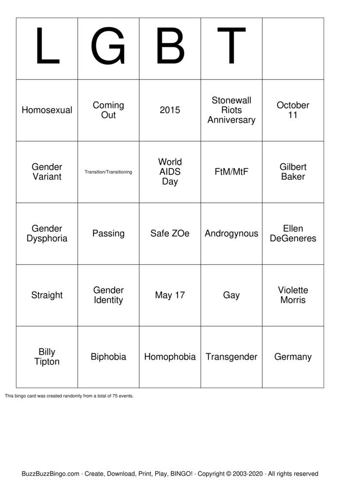 Download Free LGBT  bingo Bingo Cards