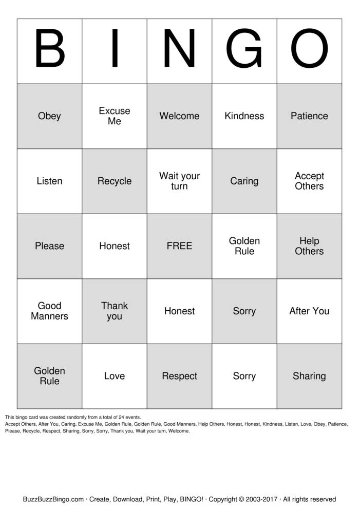 Download Respect Bingo Cards