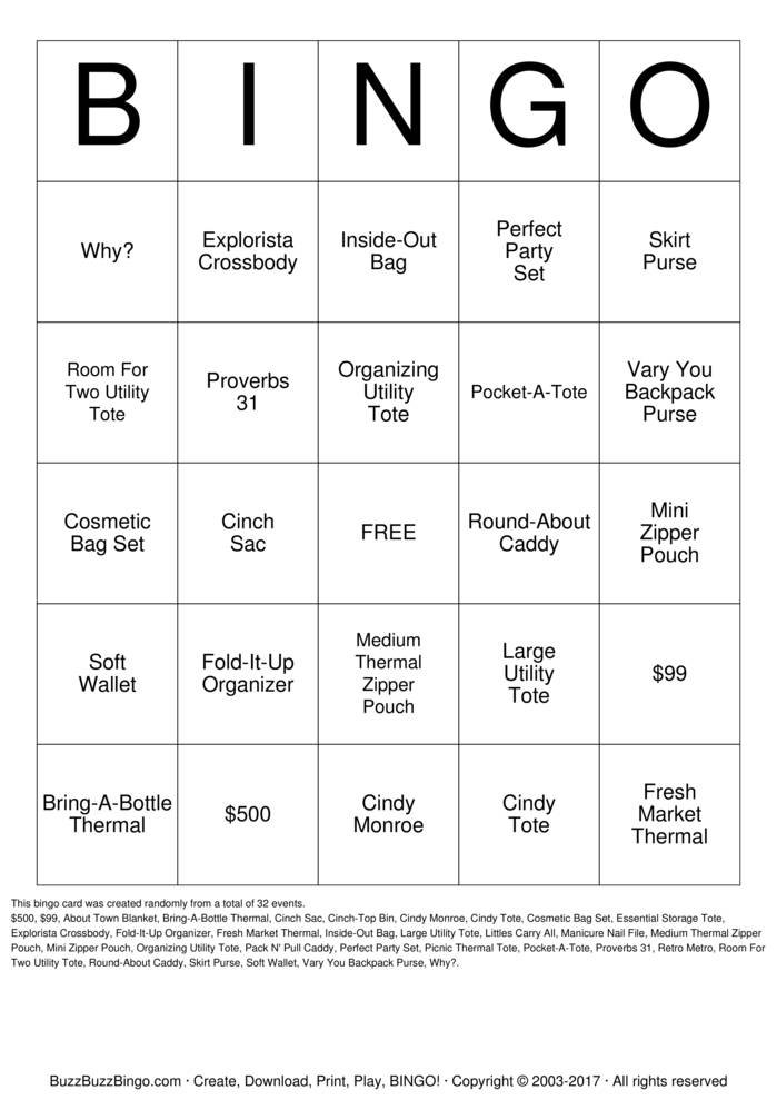 Download Free Thirty One Bingo Cards
