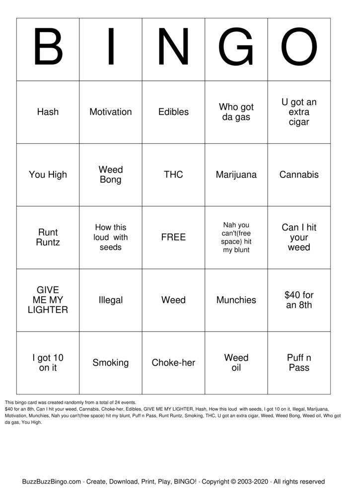 Download Free marijuana Bingo Cards