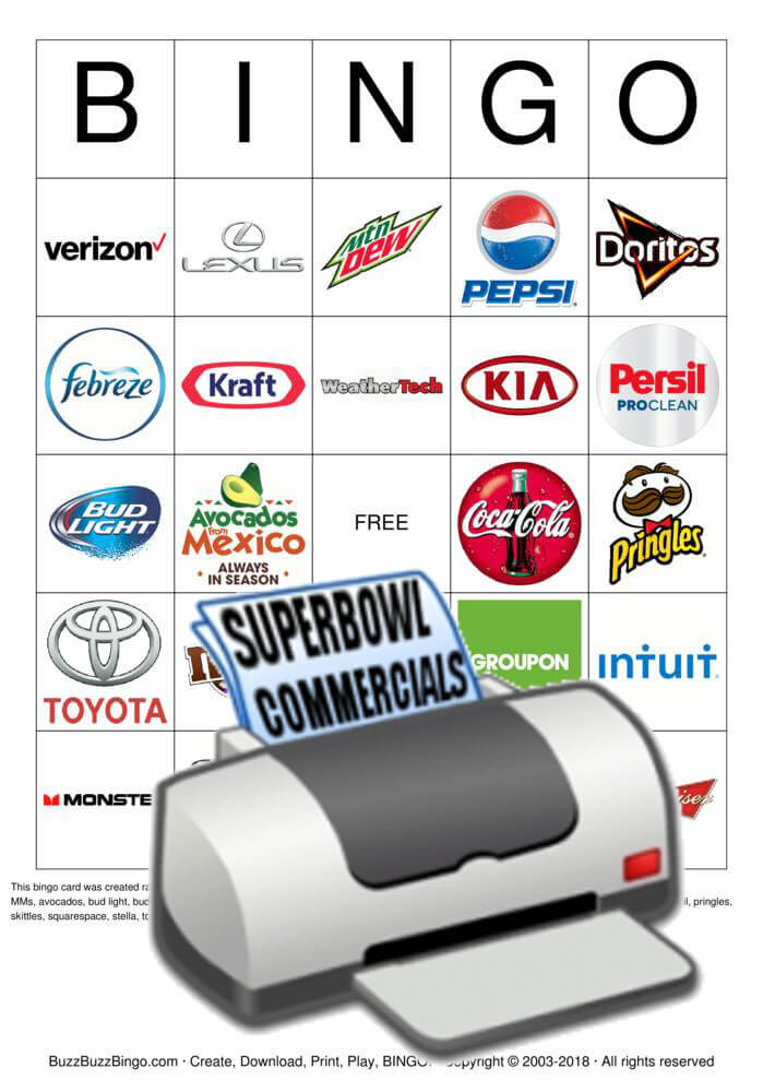 2018 Superbowl Commercial Logos Bingo Card