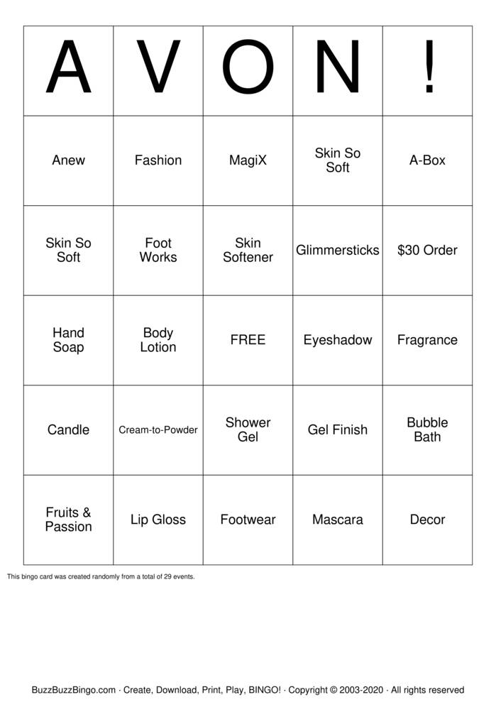 Download Free AVON! Bingo Cards
