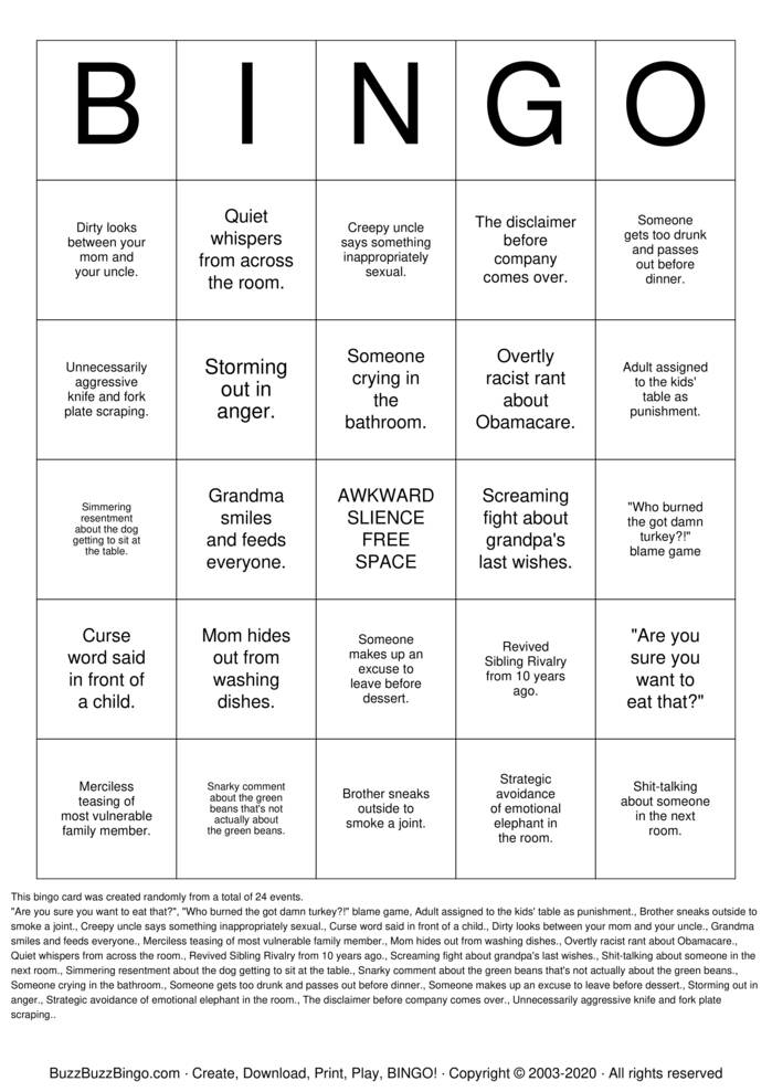 Download Free DYSFUNCTIONAL FAMILY Bingo Cards