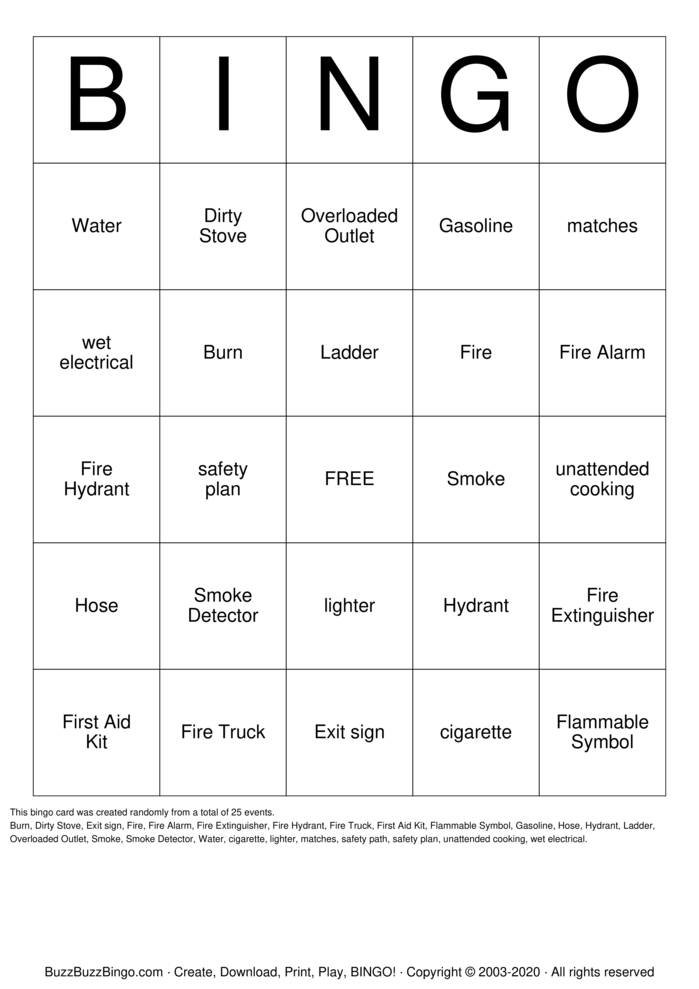 Download Free FIRE SAFETY Bingo Cards
