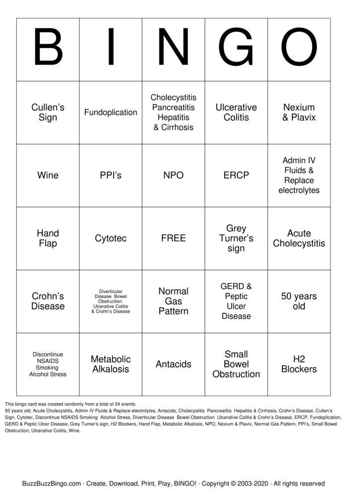 Download Free GI Disorders Bingo Cards