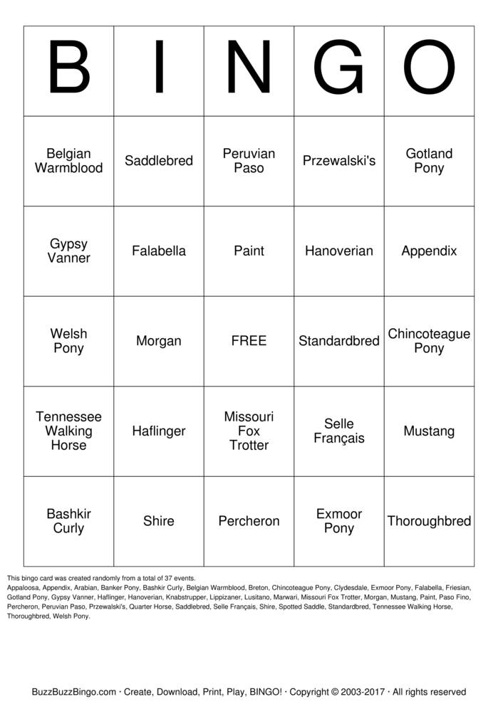 Download Free HORSE Bingo Cards