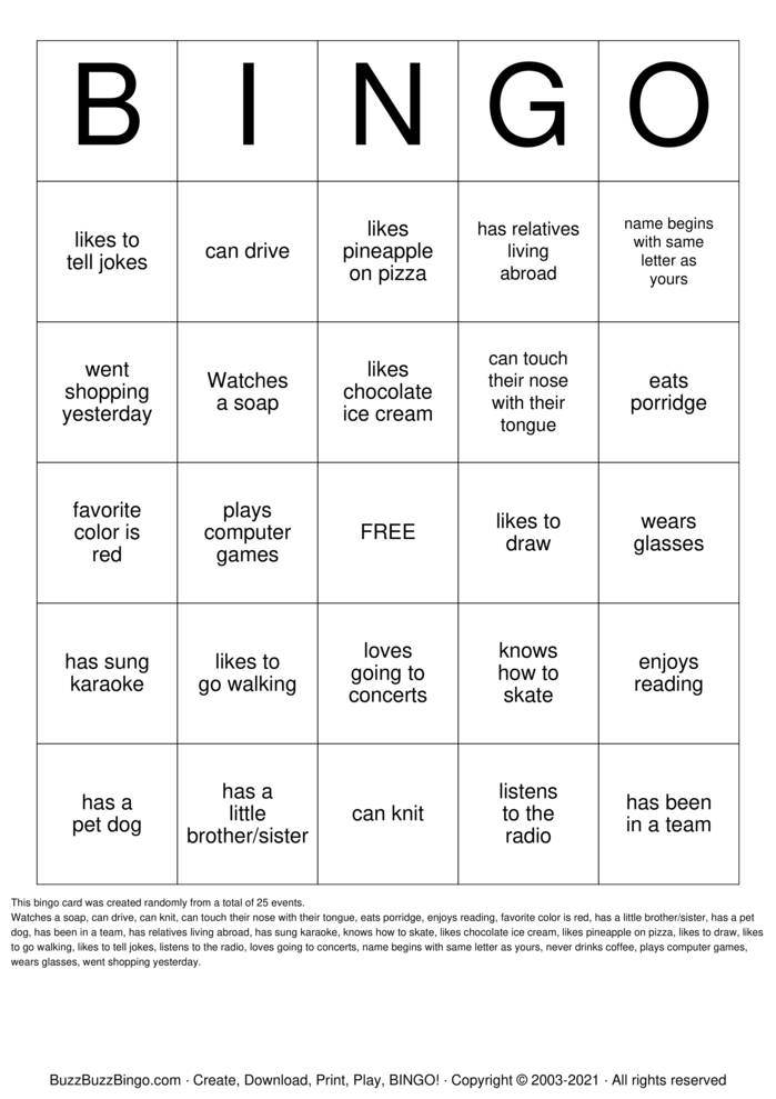 Download Free HUMAN BINGO Bingo Cards