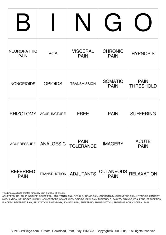Download Free PAIN Bingo Cards