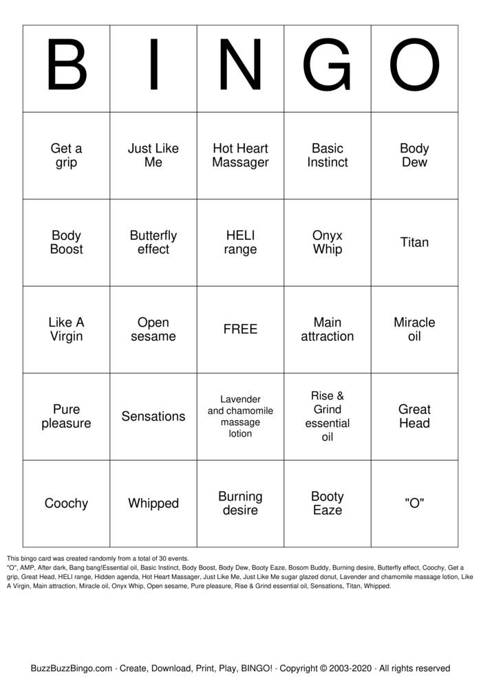 Download Free PURE ROMANCE WITH CLAIRE  Bingo Cards