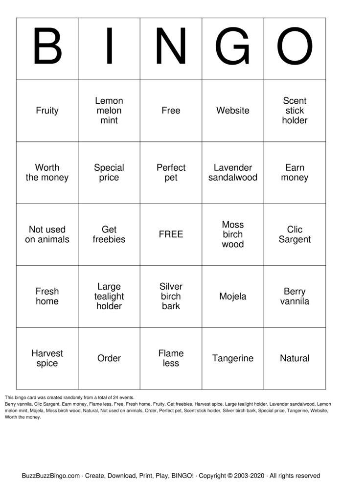 Download Free PartyLite Bingo Cards