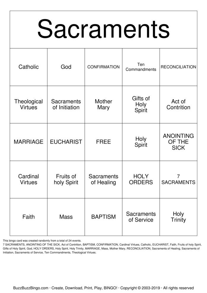 Download Sacraments Bingo Cards