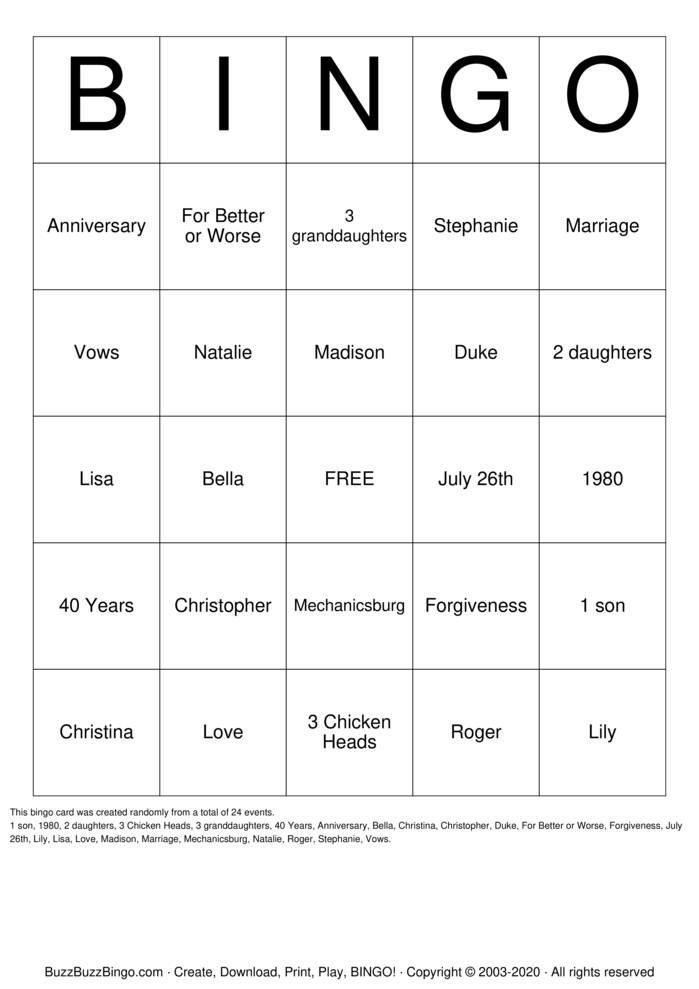 Download Free 40th Anniversary Bingo Bingo Cards
