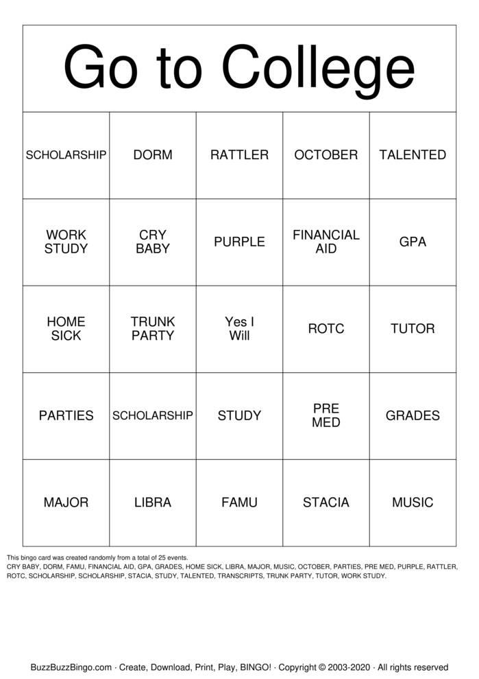 Download Free College Bingo Cards