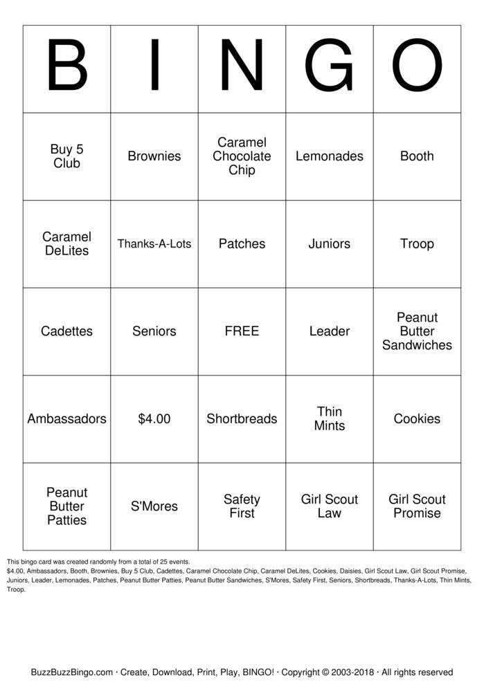 Download Free Cookie Rally Bingo Cards